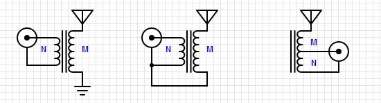 Варианты включения трансформатора импеданса.