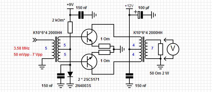 Схема макета оконечного каскада усилителя мощности передатчика.